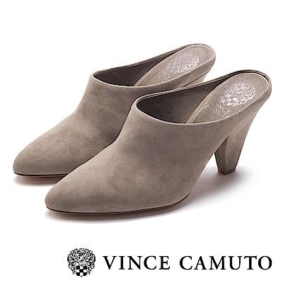 VINCE CAMUTO 麂皮前包後拖高跟穆勒鞋-絨灰