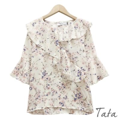 花卉V領荷葉邊雪紡上衣 TATA-(S~XL)