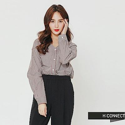 H:CONNECT 韓國品牌 女裝-小V領排釦條紋襯衫-紅
