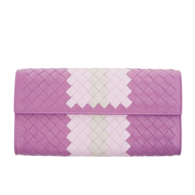BOTTEGA VENETA 經典小羊皮雙色編織拉鍊長夾 (紫粉)