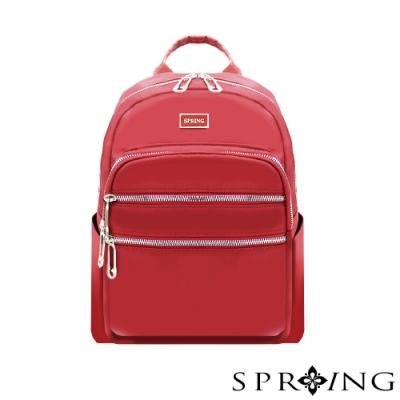 SPRING-未來系列尼龍多收納後背包-A4可-寶石紅
