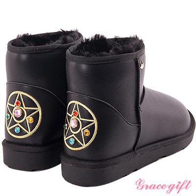 Grace gift-美少女戰士寶石變身器皮革雪靴 黑