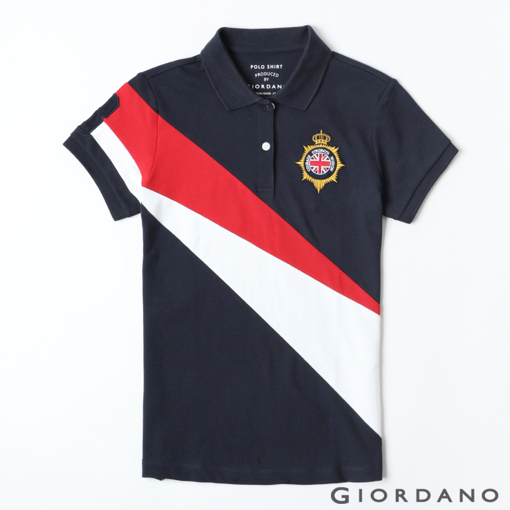 GIORDANO 女裝UNION JACK系列短袖POLO衫-69 海軍藍/紅/白 @ Y!購物