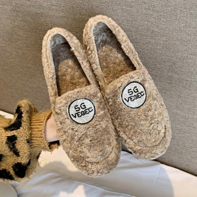 KEITH-WILL時尚鞋館-好評加碼可愛絨毛保暖娃娃鞋-卡其