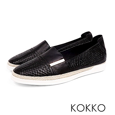KOKKO - 極度舒適簡約草編懶人真皮休閒鞋 - 濃郁黑