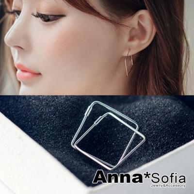 【3件5折】AnnaSofia 鏤空菱方框C圈 925銀針耳針耳環(銀系)