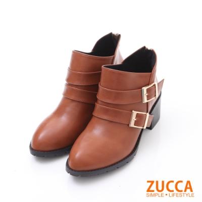 ZUCCA V雙釦飾皮革低跟短靴-駝色-z6234lc