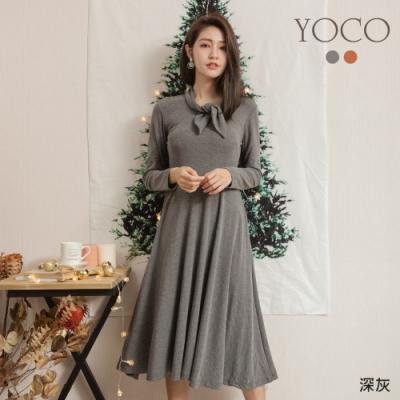 東京著衣-YOCO 氣質美人蝴蝶結領帶有腰身長洋裝