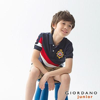 GIORDANO 童裝UNION JACK系列短袖POLO衫-38 標誌海軍藍