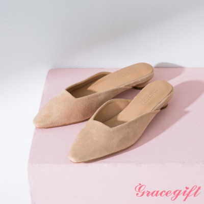 Grace gift-素面方口圓跟穆勒鞋 杏