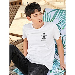 SEMIR森馬-純棉胸前印花造型短袖T恤-男