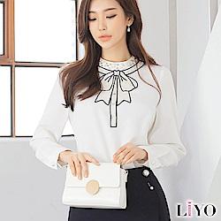 襯衫蝴蝶結手工釘珠燙鑽OL修身雪紡上衣LIYO理優E815008 S-XL