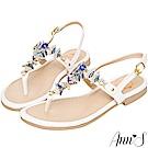 Ann'S天使的羽翼-雙色寶石水鑽平底涼鞋-白