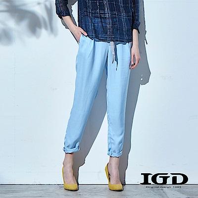 IGD英格麗 涼夏清爽藍綁帶哈倫長褲