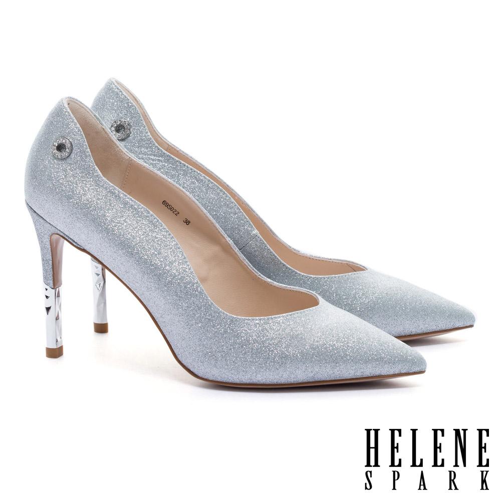 高跟鞋 HELENE SPARK 完美曲線奢華金蔥美型尖頭高跟鞋-銀