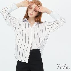 粗細直條紋袖綁帶上衣 TATA-(M/L)