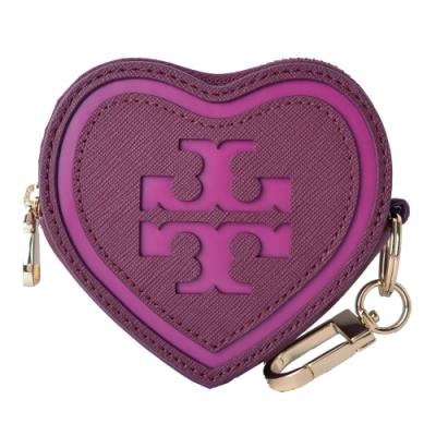 TORY BURCH 立體縫線LOGO心型防刮皮革鑰匙零錢包-紫紅