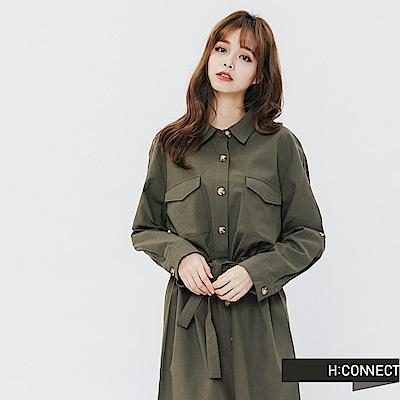 H:CONNECT 韓國品牌 女裝-琥珀排扣襯衫洋裝-綠