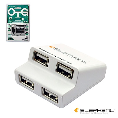 ELEPHANT OTG複合式內嵌Micro USB 4個USB埠(OTG005W)