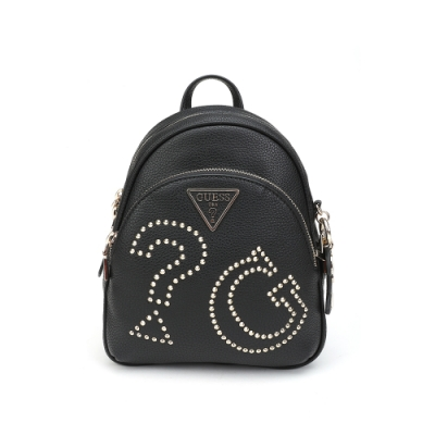 GUESS-女包-時尚鉚釘裝飾logo後背包-黑
