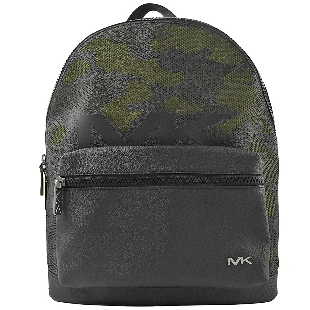 MICHAEL KORS COOPER防刮牛皮pvc拉鍊大後背包(黑/灰綠)