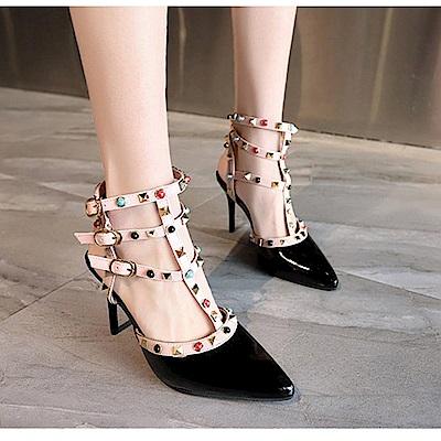 KEITH-WILL時尚鞋館 歡樂單品手作串珠細跟鞋-黑色