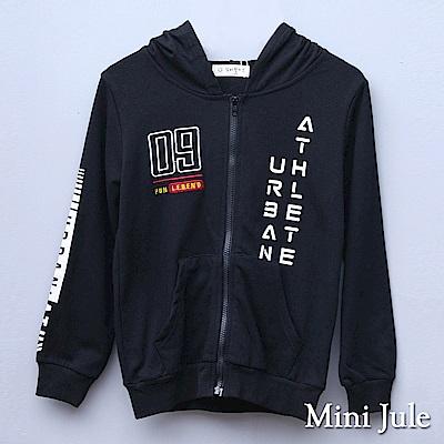 Mini Jule 大童 外套 09刺繡英文字母印花長袖連帽外套(黑)