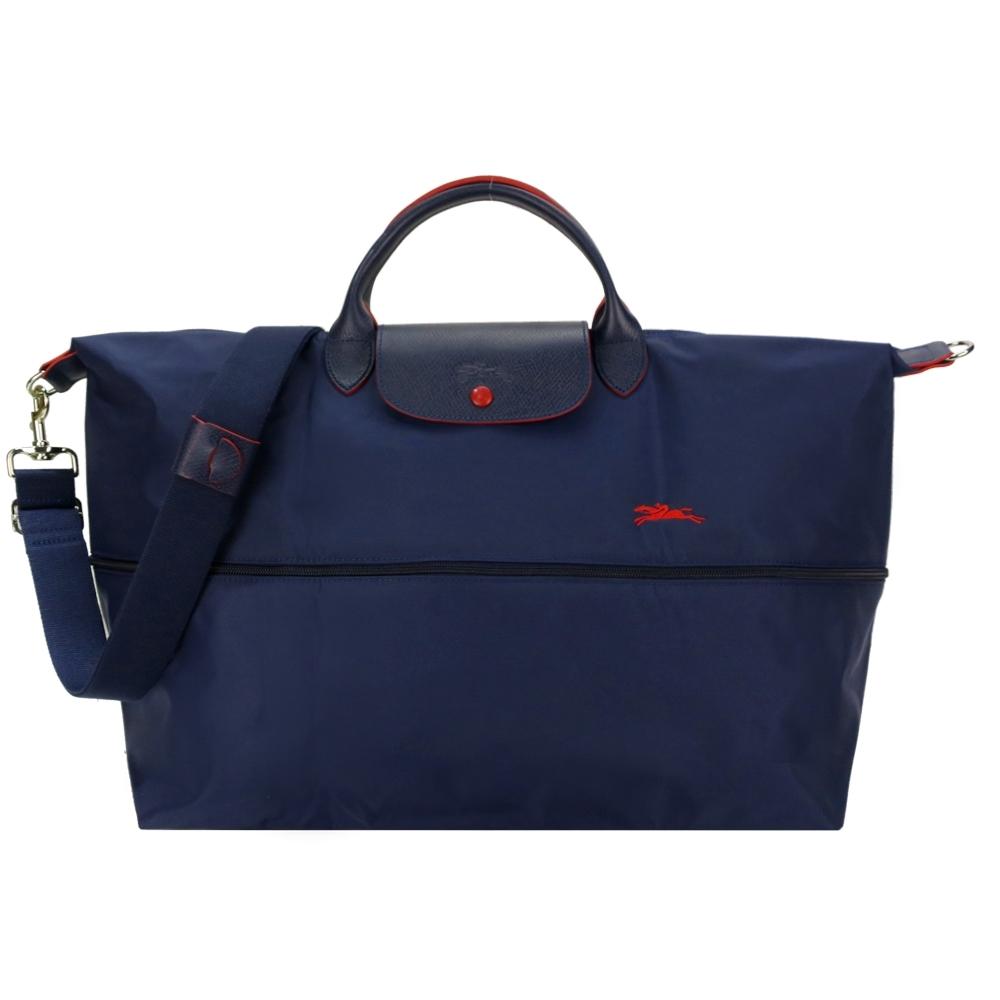 LONGCHAMP LePliage Collection刺繡延展夾層兩用旅行袋(海軍藍)