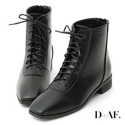 D+AF 獨創個性.小方頭綁帶平底短靴*黑