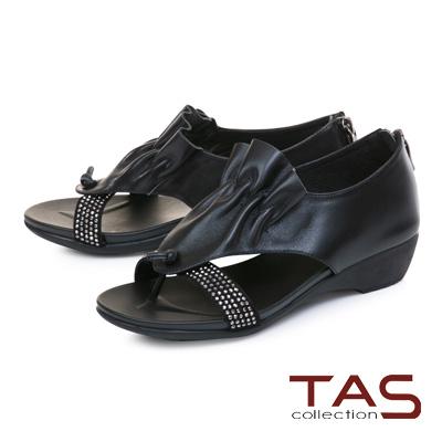 TAS閃耀燙鑽抓皺拼接夾腳後包涼鞋-率性黑