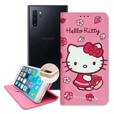 三麗鷗授權 Hello Kitty Samsung Note10+ 櫻花吊繩款彩繪側掀皮套