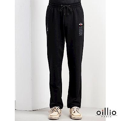歐洲貴族oillio 休閒針織長褲 電腦刺繡 創意印花 黑色