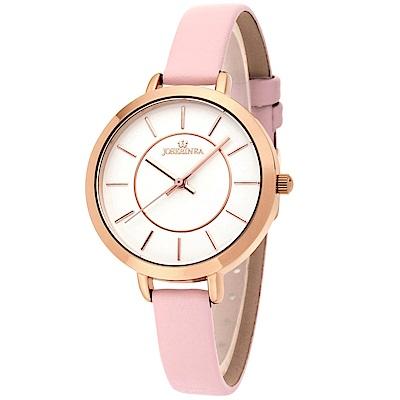 JOSERINEA 甜美佳人皮革時尚腕錶-粉/33mm