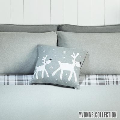 Yvonne Collection 馴鹿雪花抱枕(45x45cm)-暗灰