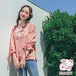 微甜系列~純棉KITTY抽繩荷葉袖上衣-OB大尺碼