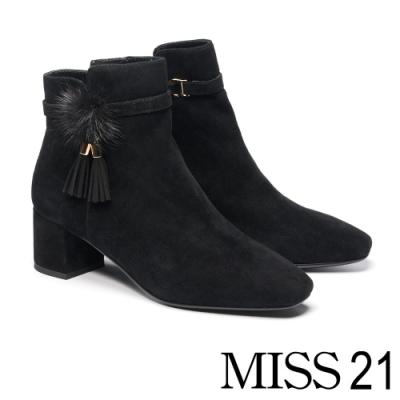 短靴 MISS 21 小高雅貂毛流蘇釦裝飾全真皮方頭高跟短靴-黑