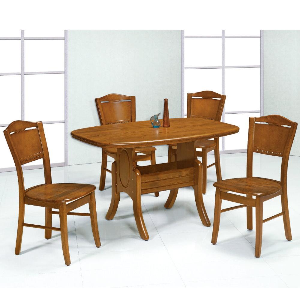 MUNA 小美式4.2尺柚木色餐桌(1桌4椅) 127X80X77cm