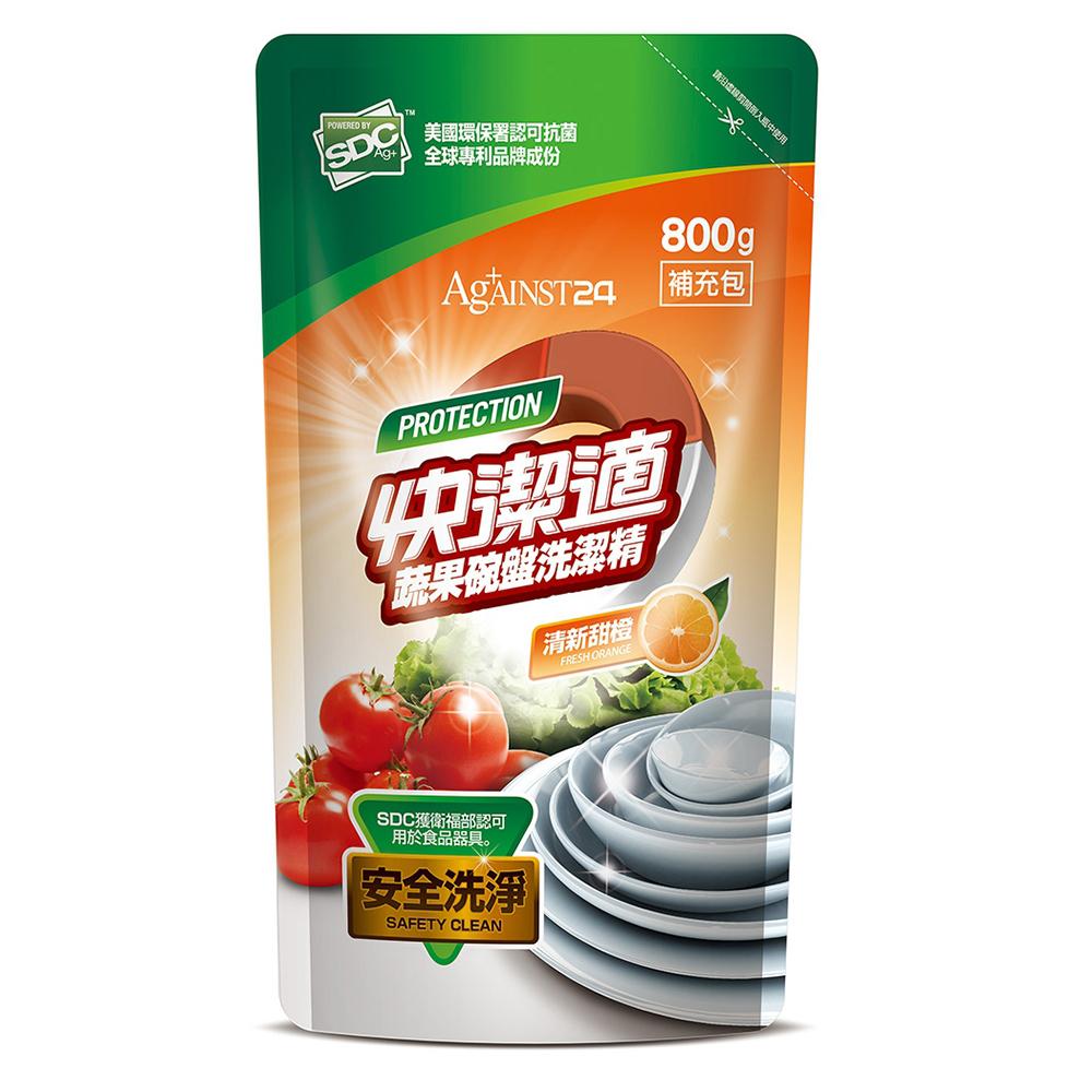 快潔適蔬果碗盤洗潔精補充包-清新甜橙800g