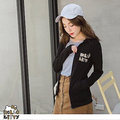 台灣製造~點點KITTY燙金印花內刷毛連帽外套-OB大尺碼