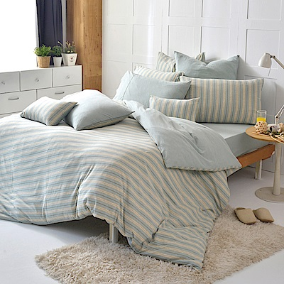 義大利La Belle 斯卡線曲 加大四件式色坊針織被套床包組-亞麻綠