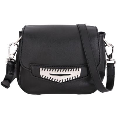 TOD'S NINA 迷你款 編織金屬片飾黑色牛皮斜背包(展示品)