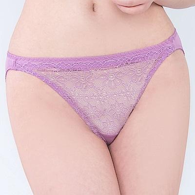 思薇爾 晨曦系列M-XL蕾絲低腰三角內褲(桑椹紫)