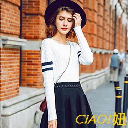 條紋配色圓領直紋針織衫 (白色)-CIAO妞