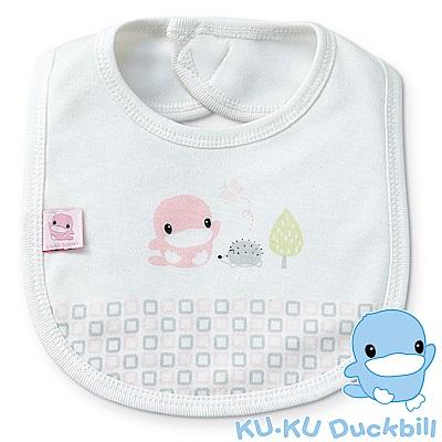 KU.KU酷咕鴨-竹纖有機棉格紋圍兜(藍/粉)