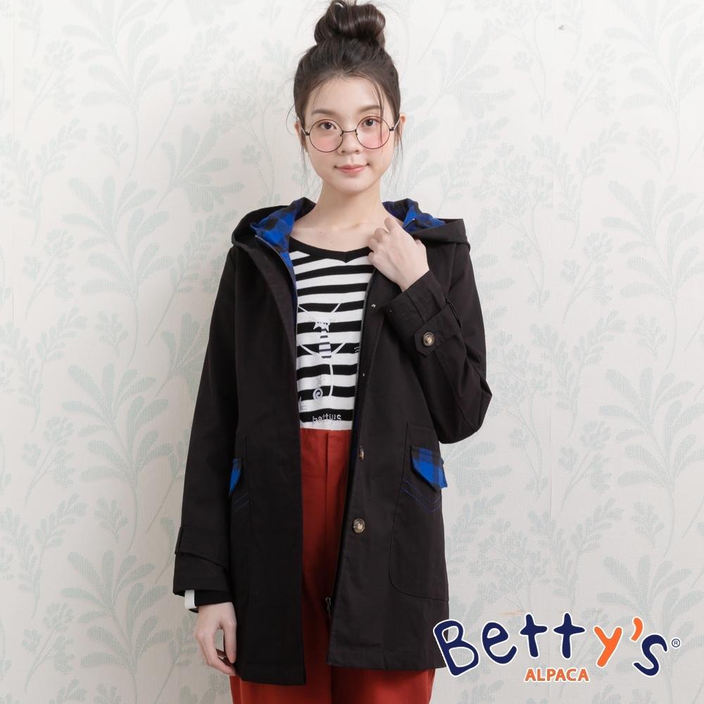 betty's貝蒂思 連帽格紋拼接素面大衣(黑色)