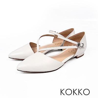 KOKKO -浪漫花都法式細帶尖頭平底鞋-珍珠白