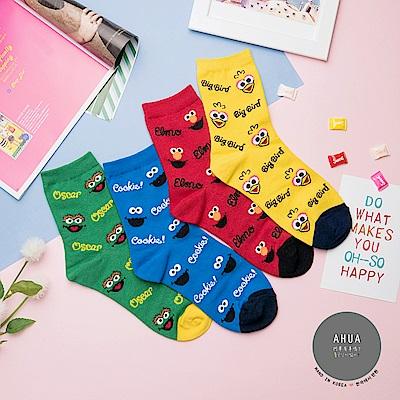 阿華有事嗎 韓國襪子 滿版芝麻街中筒襪 韓妞必備中筒襪 正韓百搭純棉襪