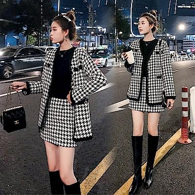 DABI 韓系時尚千鳥格毛呢外套包臀裙套裝長袖裙裝