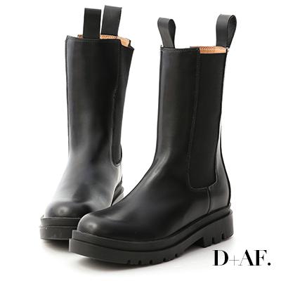 D+AF 獨領時尚.加厚鞋底切爾西中筒靴*黑