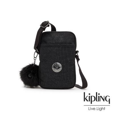 Kipling 時髦黑佐鱷魚紋可愛長方形小包-TALLY